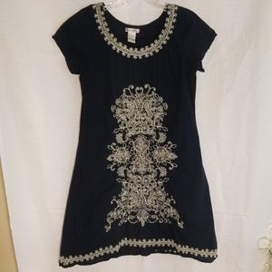 Cute options printed short sleeve dress navy blue.